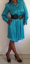 Vintage 80s Size 4 Polyester Liz Claiborne Long Sleeve Turquoise Dresss - $29.99