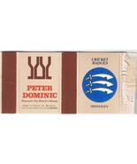 UK Matchbox Cover Cricket Badges Middlesex Peter Dominic Wines Finland - $1.48