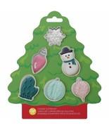 Wilton MINI Tree Cookie Cutter Set 6 pc Ornaments Snowman Snow Mitten - $5.44