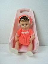 """Vntg 1971 Uneeda Doll Co Inc 12 1/2 """" Doll and Dolly Tote Please see all photos - $20.56"""
