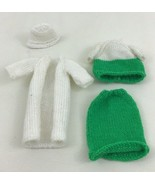 Barbie Crochet Green and White 4pc Lot Clothing Outfit Set 80s 90s - $15.79