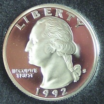1992-S Silver Proof Washington Quarter PF65 DCAM #750 - $6.99