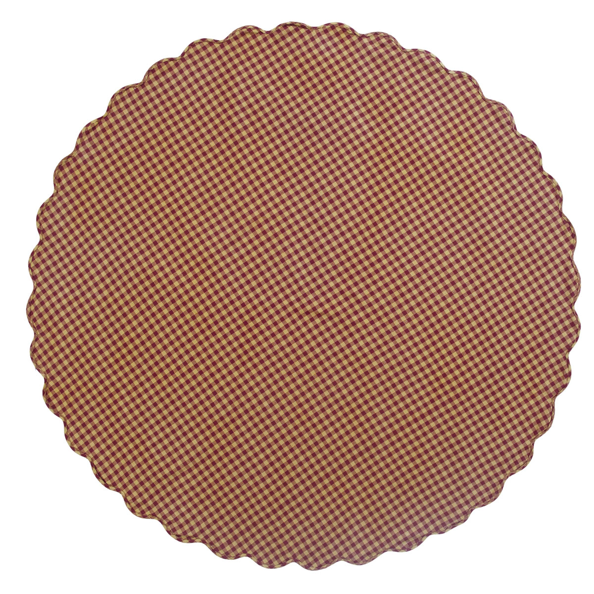 "BURGUNDY CHECK Scalloped Table Cloth - 70"" Round - Burgundy/Tan - VHC Brands"