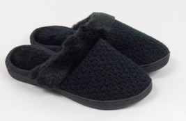 Isotoner Signature Black Weave Memory Foam Faux Fur Clog Slippers Size S... - $16.14