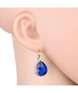 UNITED ELEGANCE Sparkling Faux Sapphire & Swarovski Style Crystal Earrings - $24.99