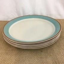 Corning Corelle Vtg Aqua Blue Brown Rim Dinner Plates (7) - $48.51