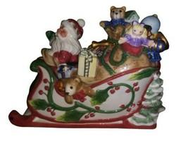 Fitz and Floyd 'Santa's Flight' Cookie Jar, Teddy Bears,Sleigh,Presents - $84.14