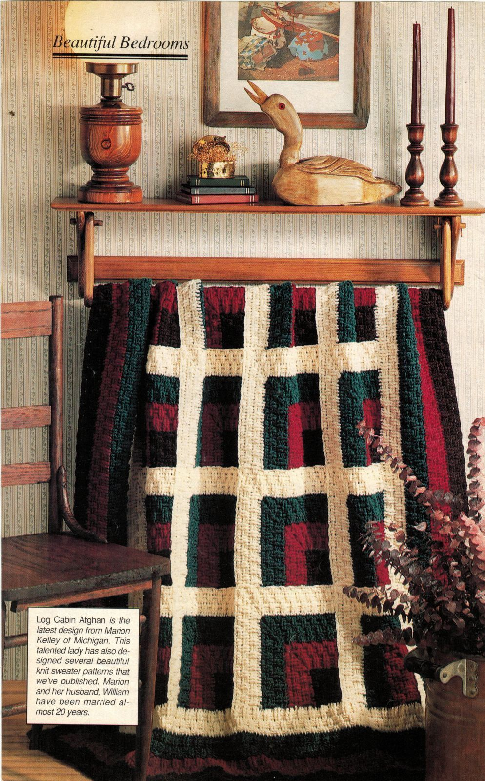 3X  From The Past Flower Doily Motif Bedspread Log Cabin Afghan Crochet Pattern image 3
