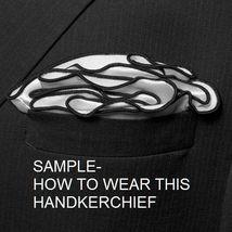 BLACK Silk RED border Trim Pocket square Round Handkerchief edge NEW $45 image 4