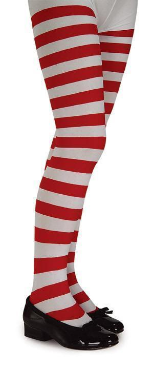 RED & WHITE STRIPED TIGHTS MEDIUM 60-75 LBS CHILD SIZE 4 to 6