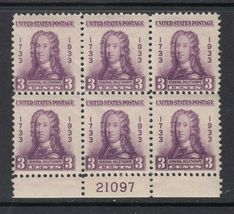 1933 James Edward Oglethorpe Plate Block of 6 US Stamps Catalog Number 726 MNH