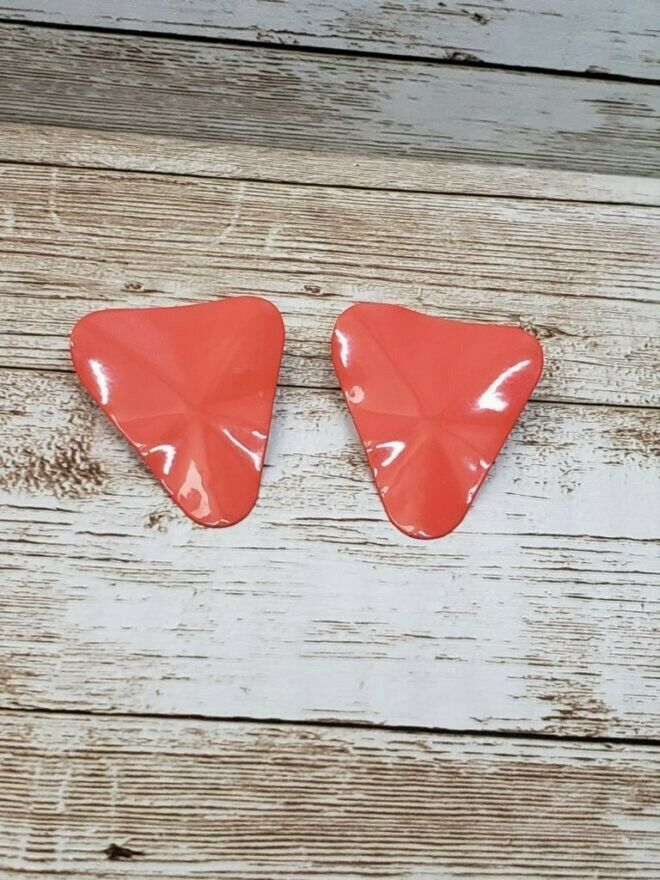 Primary image for Vintage Clip On Earrings Burnt Orange Wavy Triangle Retro
