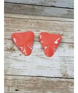 Vintage Clip On Earrings Burnt Orange Wavy Triangle Retro - $12.99