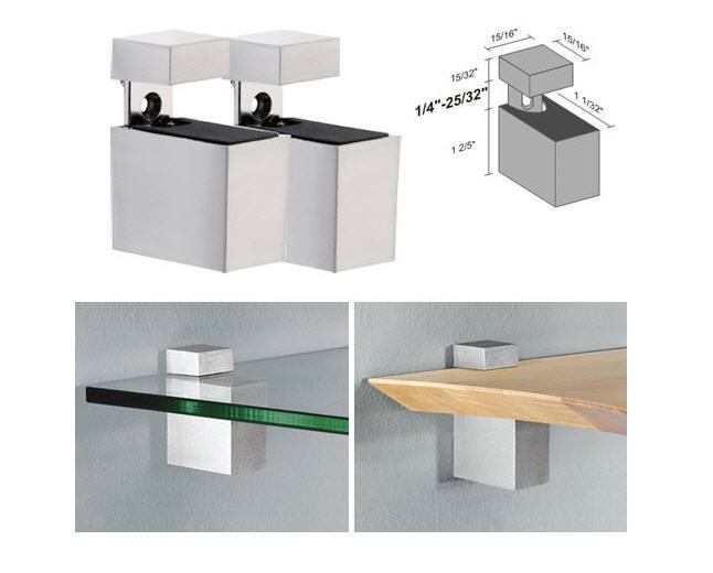 "Primary image for Dolle Cuadro Silver Adjustable Shelf Brackets for up to 3/4"" Shelf - Pair"