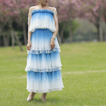 Blue Tiered Tulle Skirt Outfit High Waisted Long Tulle Skirt Holiday Tulle Skirt image 7