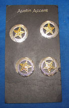 4 Western Texas Star Pin Back Conchos in Silver and Yellow 1 inch wide - $10.99