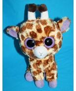 "Ty Beanie Babies Boos GIRAFFE 5"" SAFARI Baby Big Purple Eyes Stuffed Plush - $13.52"