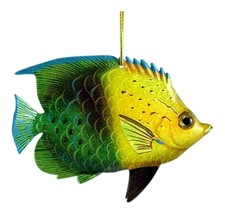 Tropical Fish Sea Life Christmas Ornament 6 Inches Green and Yellow ORN3... - $19.98