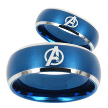 His Hers Avengers Dome Brushed Blue 2 Tone Tungsten Mens Anniversary Rin... - $79.98