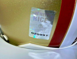JERRY RICE / NFL H.O.F / AUTOGRAPHED SAN FRANCISCO 49ERS MINI HELMET / RICE HOLO image 6