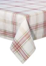 "Lenox Holiday Nouveau Plaid Tablecloth Cotton Metallic Christmas 60"" x 1... - $65.00"