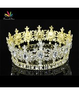 Men Pageant King Crown Prom Accessories Gold Color Full Circle Round Tia... - $150.93
