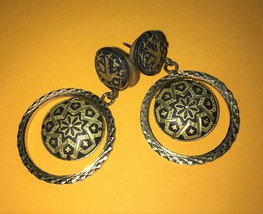 Vintage damascene post earrings dangle - $23.38