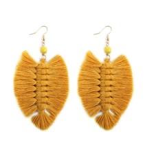 Handmade Long Tassel Earrings For Women Vintage Leaf  Earring Ethnic Mul... - $10.36