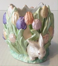 Easter Bunny Spring Tulip Candle Holder - $9.89