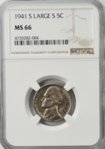 1941 S 5c Jefferson Nickel NGC MS66 BU San Francisco Five Cents Large S ... - $178.19