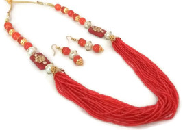 Indian Bollywood Gold Plated Orange Beads Kundan Necklace Earrings Jewelry Set - $13.65