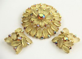 ESTATE VINTAGE Jewelry HIGH END PRONG SET FROSTED RHINESTONE SET BROOCH ... - $35.00