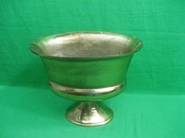 Vintage Polished Brass Planter ~ Oval 13 Inches Long ~ Pedestal Style ~ ... - $42.97