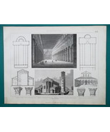 ARCHITECTURE Italy Basilicas Ravenna Rome St John Lateran - 1870 Engravi... - $16.20