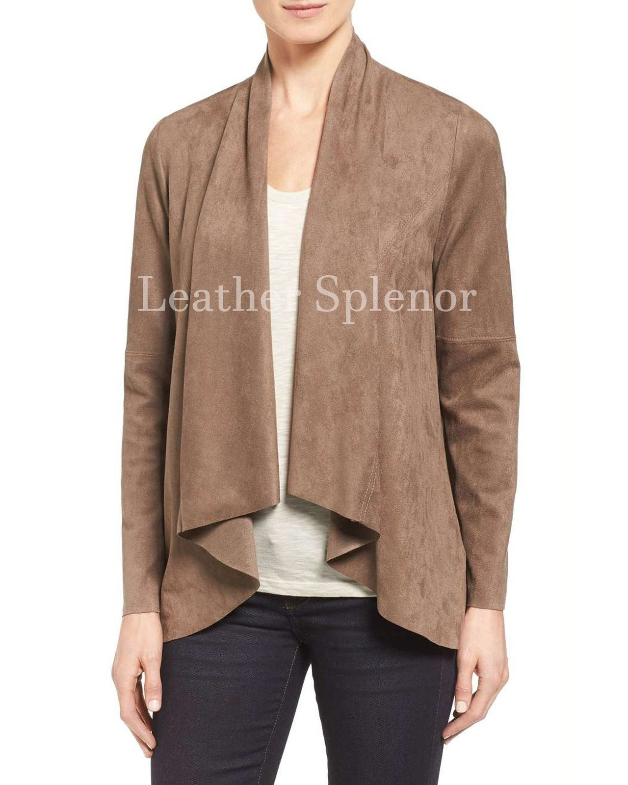 Draped Style Women Suede Leather Jacket