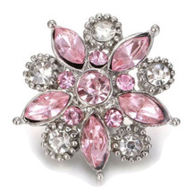 Pink Crystal Flower Snap Button Jewelry Charm - $6.88