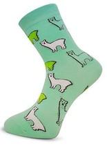 Mint Green Mens Socks with Llama design by Frederick Thomas of London