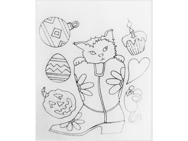 Unmounted All Seasons Cat in Cowboy Boot Rubber Stamp Set