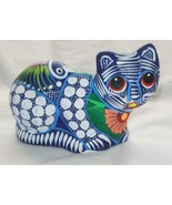 Colorful Hand-painted Ceramic Clay Pottery Seated Kitty Cat Figurine K6 - $13.85