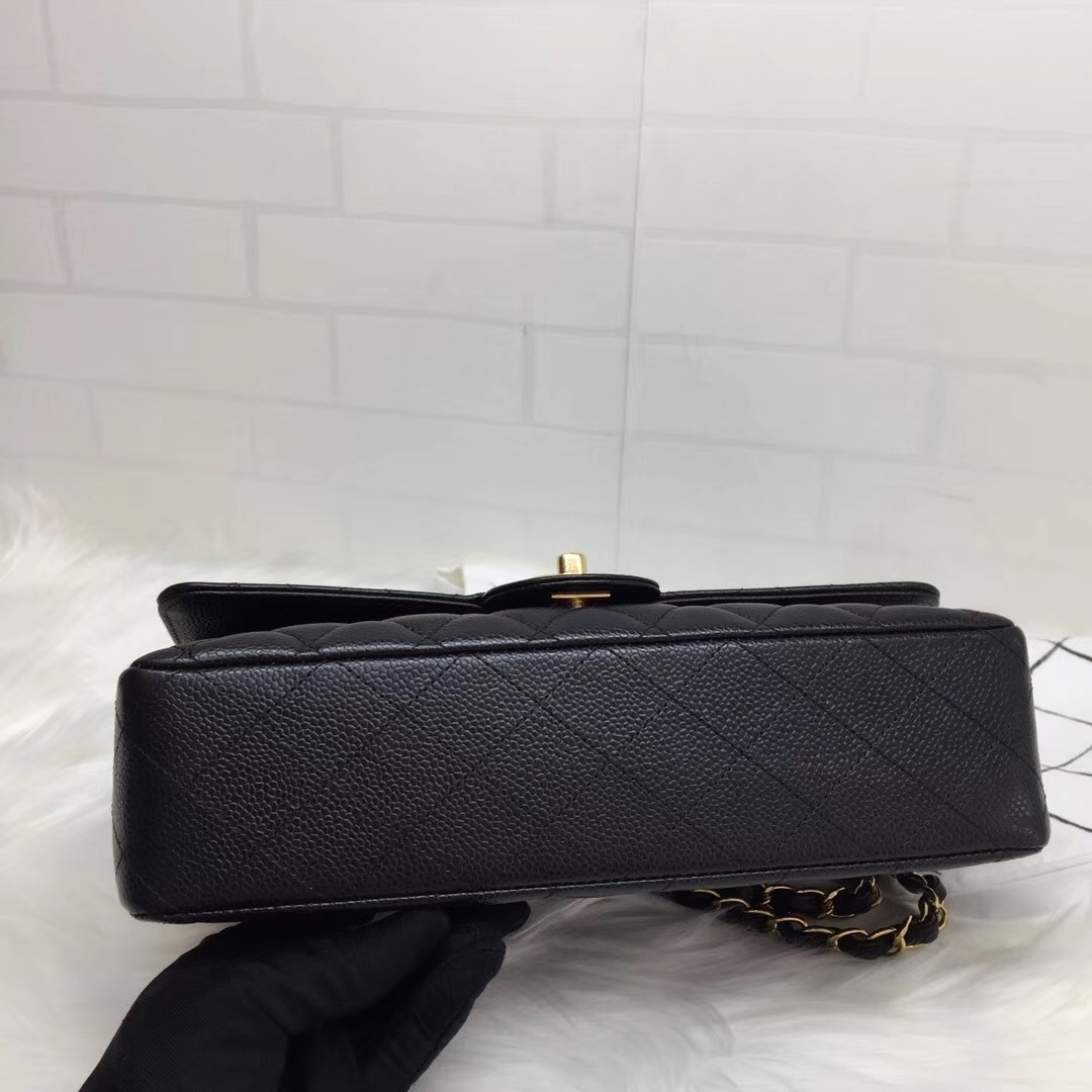 100% AUTH NEW 2019 Chanel BLACK QUILTED CAVIAR MEDIUM DOUBLE FLAP BAG GHW image 5