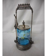 Antique Blue Glass Handpainted Victorian Pickle Castor with Tongs - $490.05