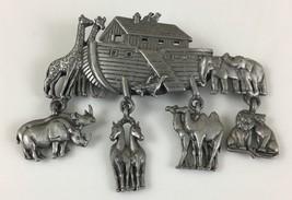 JJ Stamped Noahs Ark Dangle Charms Chunky Large Brooch Pin Christian Bib... - $14.99
