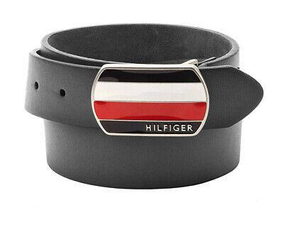 Tommy Hilfiger Men's Classic Plaque Buckle Logo Leather Bridle Belt