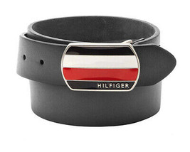 Tommy Hilfiger Men's Classic Plaque Buckle Logo Leather Bridle Belt