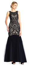 Adrianna Papell Blk/Nude TulleTrumpet Gown with Beaded Drop Waist Bodice... - $236.61