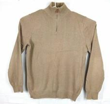 J. CREW Men's XLT Tall 1/4 Zip Tan Cotton/Cashmere Sweater Pullover Card... - $27.88