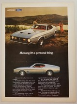 1971 Print Ad Ford Mustang Mach I Car Couple by Lake - $9.41
