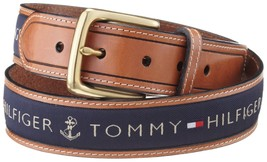Tommy Hilfiger Men's Ribbon Inlay Leather Canvas Belt In Navy Color 11TL02X032 - $24.99