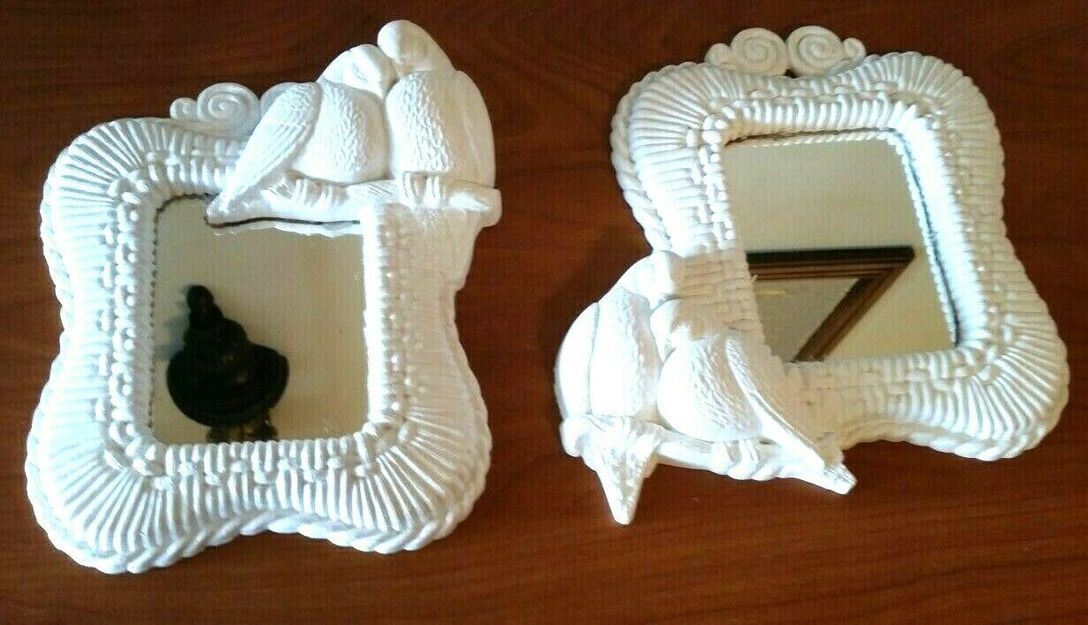 Vintage 1989 HOMCO Home Interior Doves Love Birds Wall Hanging Mirror White #2