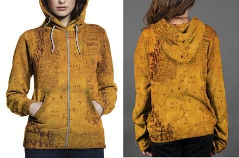 Map of rohan hoodie zipper fullprint women